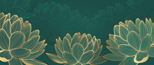 Luxury Wallpaper Design With Golden Lotus And Green Natural Background. Lotus Line Arts Design For Fabric, Prints And Background Texture, Vector Illustration.