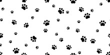Dog Paw Seamless Pattern Cat Footprint Bear Vector French Bulldog Cartoon Isolated Tile Background Repeat Wallpaper Scarf Doodle Illustration Design