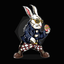 The Easter Bunny Holding Eggs And He Is Wearing A Rocker Jacket
