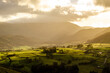Beautiful sunny landscape over a valley in the Lake District, UK, England