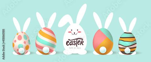 Fototapeta Happy easter banner background. Easter bunny and egg obraz