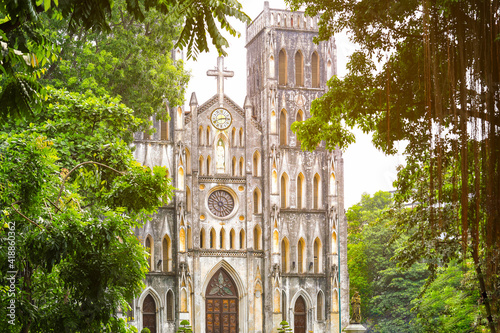 View of St.Joseph's Cathedral church in Hanoi the capital city of Vietnam