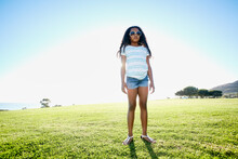 Young Mixed Race Girl Outdoors