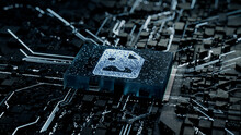 Image Technology Concept With Picture Symbol On A Microchip. Data Flows From The CPU Across A Futuristic Motherboard. 3D Render.