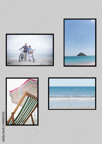 Composition of four beach and seaside images with deckchair and couple wheeling bicycles