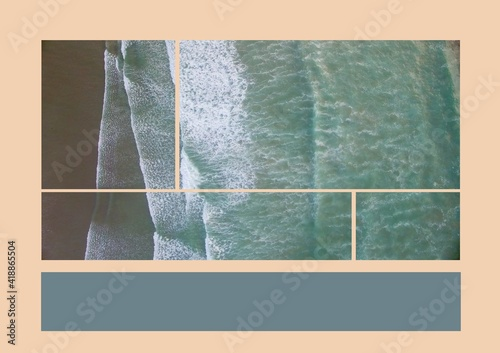 Composition of aerial sea images and grey copy space band on pale pink background