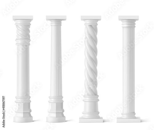 Fotografía Antique pillars isolated on white background