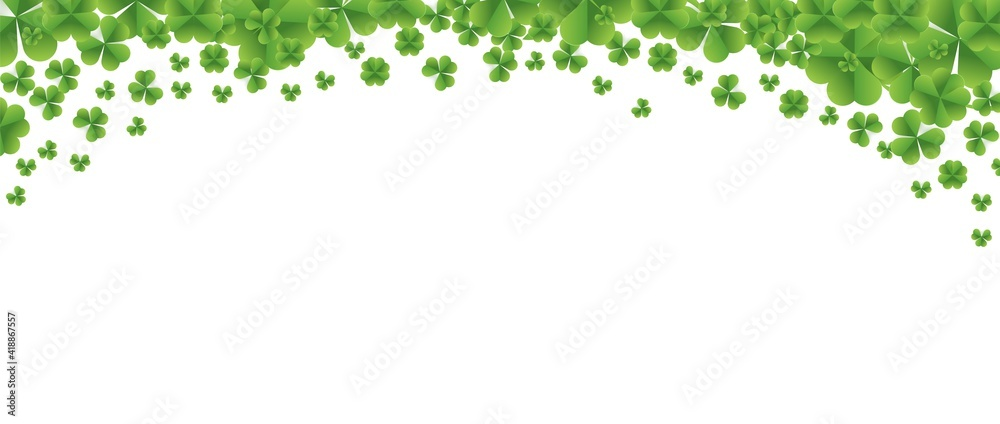 Fototapeta Patrick day background with vector four-leaf clover pattern background. Vector green grass clover pattern background