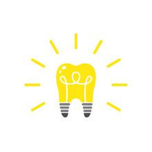 Light Bulb Shape Tooth Glow Symbol Idea Creative Vector Illustration.