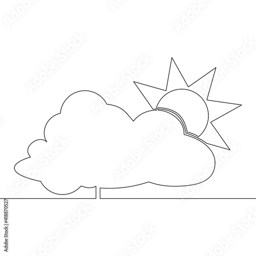 Canvas Print Continuous line sun behind the cloud concept