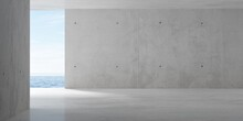 Abstract Empty, Modern Concrete Room With Opening With Ocean View On The Back Wall And Rough Floor - Industrial Interior Background Template