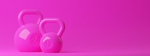 Two Pink Fitness Gym Kettlebells On Pink Background, Muscle Exercise, Bodybuilding Or Woman's Fitness Concept
