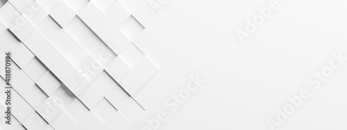 Random shifted rotated white cube boxes block background wallpaper banner with copy space