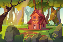 Wooden House In Summer Forest. Old Shack In Deep Wood With Falling Sun Beams Among Green Trees And Rocks Around. Uninhabited Forester Or Witch Hut, Pc Game Background, Cartoon Vector Illustration