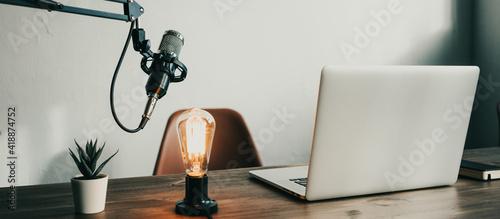Slika na platnu Home minimal studio auido broadcast interior