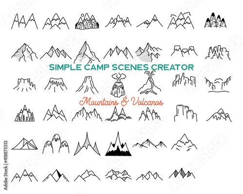 Slika na platnu Simple mountains icons shapes set