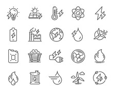 Energy Types Line Icons. Coal Trolley, Solar Panels, Hydroelectric Power Icons. Sustainable Electricity, Battery Energy, Fuel Canister. Windmill Power, Coal Mine And Hydroelectricity. Vector