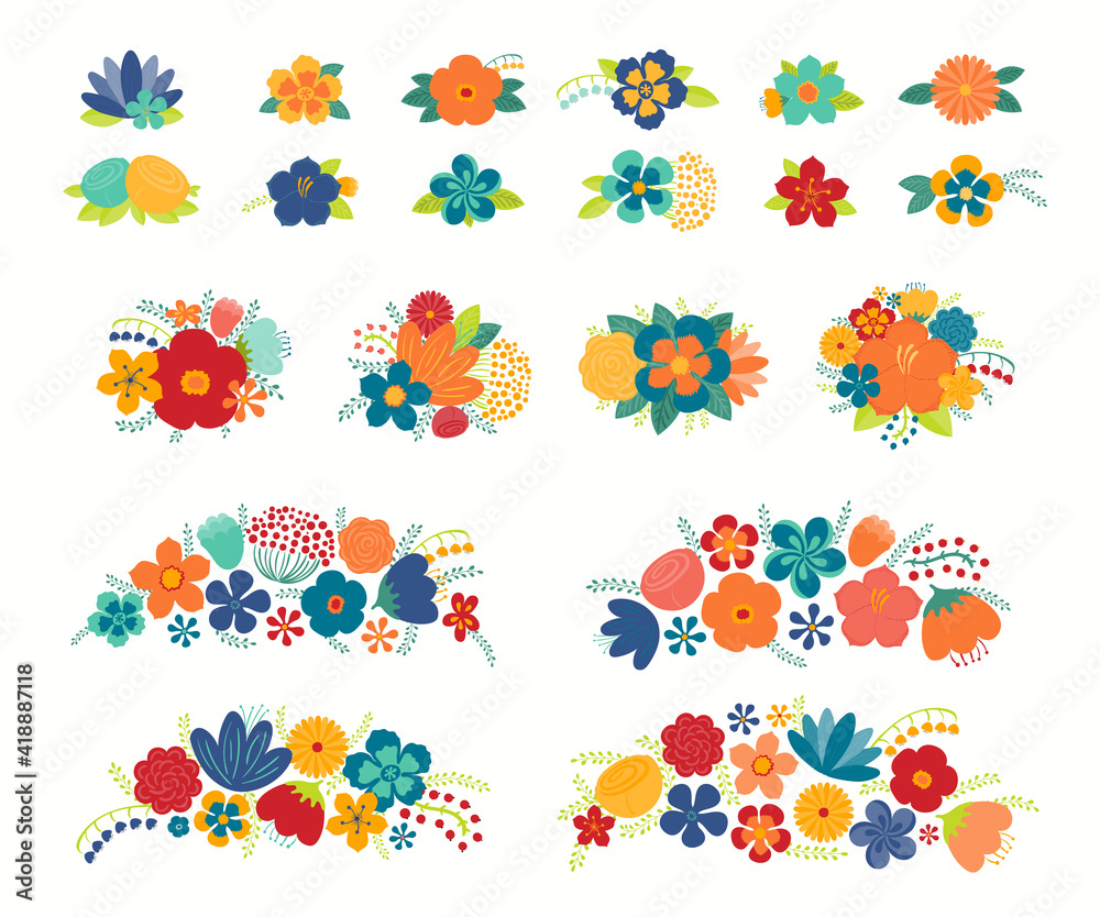 Fototapeta Tropical flowers, leaves floral compositions set, isolated on white. Hand drawn vector illustration. Exotic bouquets, arrangements. Summer clipart elements collection. Flat style design concept