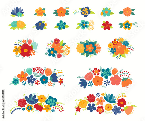 Canvas Tropical flowers, leaves floral compositions set, isolated on white