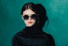 Pretty Woman Sunglasses Luxury Glamor Green Background