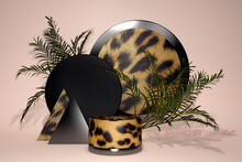 3D Leopard Print Pedestal Podium On Tropical Pastel Background. Exotic Palm Leaf Shadow. Beauty Cosmetics Product Promotion Display Showcase. Jungle Minimal Abstract 3D Render
