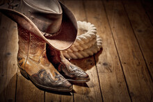 Country Music Festival Live Concert Or Rodeo With Cowboy Hat And Boots