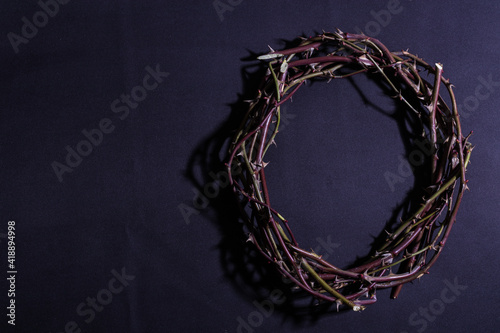 Photo Crown of thorns on purple background.