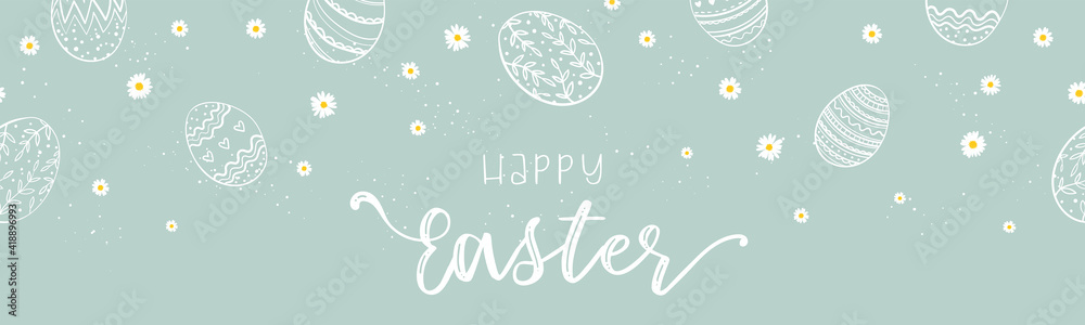 Fototapeta Cute hand drawn Easter banner, creative and fun, great for social media, cards, invitations - vector design