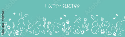Fotografiet Cute hand drawn Easter banner, creative and fun, great for social media, cards,