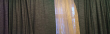 Panorama Of The Tulle And Heavy Curtains Covered Window In The Flat. Lifestyles Concept.