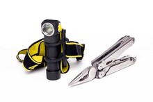 Knife And Headlight. Headlamp And Multi-tool. Hand Tool. Isolate.