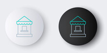 Line Ticket Box Office Icon Isolated On Grey Background. Ticket Booth For The Sale Of Tickets For Attractions And Sports. Colorful Outline Concept. Vector.