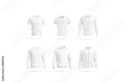 Blank white mens classic t-shirt, polo, sweatshirt, hoodie, bomber mockup Fototapet