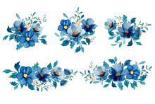 Watercolor Blue Floral Bouquet Collection