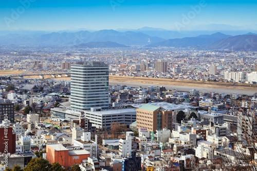 高台から見た 岐阜市の都市景観と建設中の岐阜市役所 Poster Mural XXL