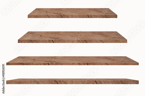 Obraz Collection of stone shelves on an isolated white background, There are clipping paths for the designs and decoration.Used for display or montage your products. - fototapety do salonu