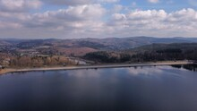 Aerial View Over The Dam Wall To The Middle Hills In The Sauerland Region
