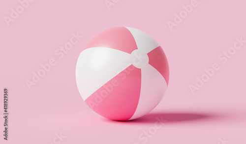 Fényképezés Pink inflatable ball beach toy on pink summer background with balloon concept