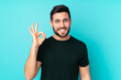 Caucasian handsome man isolated on blue background showing ok sign with fingers