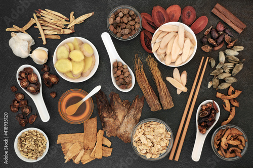 Traditional Chinese herbal medicine with herbs & honey to treat cold & flu virus Poster Mural XXL