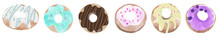Set Of Donuts. Donut Icon Collection With Toppings.