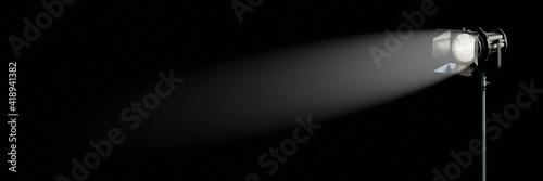Fotografija Movie light in the dark, studio spotlight, film production background banner wit