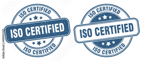 Obraz iso certified stamp. iso certified label. round grunge sign - fototapety do salonu