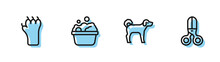 Set Line Dog, Paw Print, Pets Bath And Scissors Hairdresser Icon. Vector.