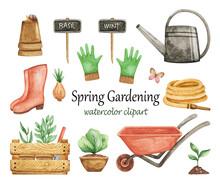 Spring Gardening Clipart Watercolor, Garden Tools Set, Wheelbarrow, Gloves, Watering Can, Garden Elements Isolated