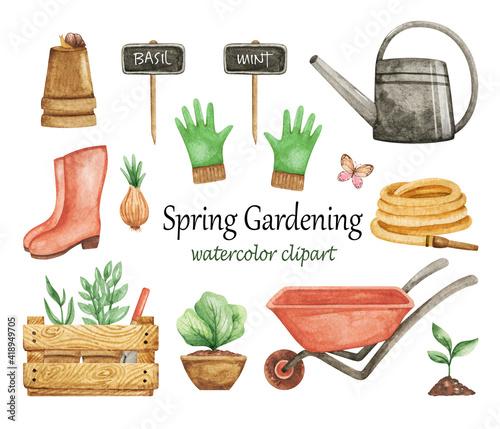 Foto Spring Gardening clipart watercolor, Garden tools set, wheelbarrow, gloves, wate