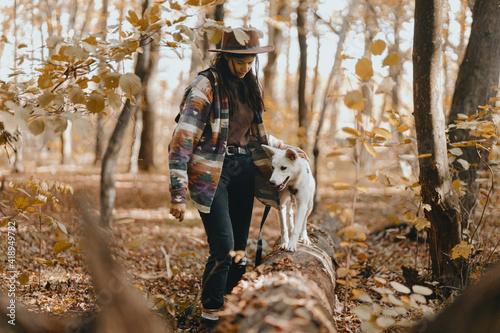 Obraz Stylish woman training white dog in sunny autumn woods. Cute swiss shepherd puppy learning - fototapety do salonu