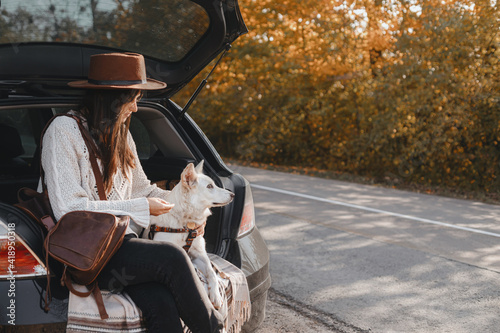 Canvas Print Stylish woman sitting with cute white dog in car trunk at sunny autumn road