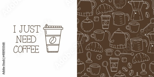 Fotografia, Obraz Seamless doodle pattern with coffee and coffee accessories on brown background
