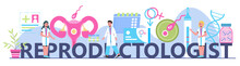 Reproductologist Concept Vector For Medical Header Landing Page. Gynecology Specialists Treat Patient. Family Planning, Pregnancy, Infertility Treatment Illustration.